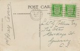 1942 ½d Green Pair Jersey Arms, Illustrated Postcard FDC, Jersey Cancel