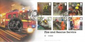 2009 Fire & Rescue, Royal Mint Official Medal FDC, Moreton in Marsh Gloucestershire HS