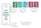 1971 QEII Definitive Issue Multi Value Se-tenant Coil, North London Stamp Centre FDC, London EC FDI