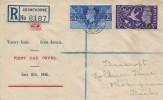 1946 Victory, Registered Display FDC, Crowthorne Berks. cds