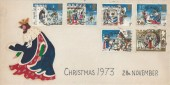 1973 Christmas, Hand Illustrated Good King Wenceslas FDC, Parrs Wood Manchester 20 cds