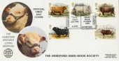 1984 British Cattle D G Taylor Official FDC,  The Hereford Herd Book Society Hereford H/S