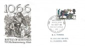 1966 Battle of Hastings, Illustrated FDC, 4d Ordinary stamp only Battle of Hastings 900th Anniversary Posted from the Battlefield Battle Sussex H/S