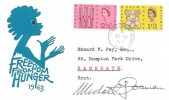 1963 Freedom from Hunger, Illustrated FDC, Hereson Road Ramsgate Kent cds, Signed by the Stamp Designer Michael Goaman