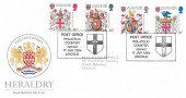 1984 Heraldry, Royal Mail FDC, Post Office Philatelic Counter Opened Lincoln H/S