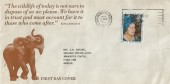 1980 Queen Mother's 80th Birthday, Illustrated Elephant FDC, First Day of Issue Bournemouth - Poole Slogan