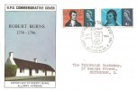 1966 Robert Burns, GPO FDC, That Man to Man the Warld O'er Shall Brothers be for A' That Alloway Ayrshire H/S