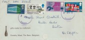 1969 Notable Anniversaries, Dorothy Ward gifts made by Craftsman FDC, only 4 of the 5 stamp Set, no 1s9d value, Purple Skipton Yorkshire cds