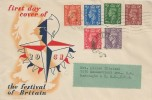 1951 Festival of Britain Low value Definitive Pale Colours Issue ½d, 1d, 1½d, 2d, 2½d + additional 1941 3d Pale Violet, Illustrated FDC, Battersea SW11 Cancel & cds