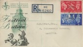 1951 Festival of Britain, Registered BPA/PTS FDC, Rye Sussex cds