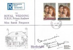 1986 Royal Wedding, Registered Birthright Wedding Day Cover, Dummer Basingstoke Hants. cds, Signed by Gloria Hunniford