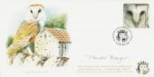 2000 Above & Beyond, Covercraft Official FDC, 19p Barn Owl stamp only, World Owl Trust Muncaster Castle Ravenglass Cumbria H/S, Signed by Trevor Boyer Wildlife Artist & Cover Illustrator