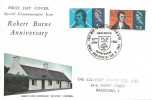 1966 Robert Burns, Connoisseur FDC, That Man to Man the Warld O'er Shall Brothers be for A' That, Greenock Renfrewshire H/S