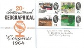 1964 Geographical Congress, Illustrated FDC, St.Nicholas Guildford Surrey cds