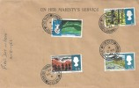 1966 British Landscapes, On Her Majesty's Service Stationery FDC, Five Oaks Jersey Channel Islands cds