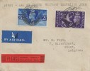 1946 Victory, Plain Cover Flight cover FDC, to Belgium, Birkenhead Cheshire cds