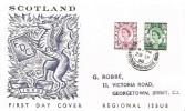 1958 6d, 1/3d Scotland Regionals Scotland Illustrated FDC, Melrose Roxburghshire cds