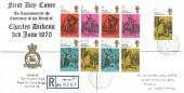 1970 Literary Anniversaries, Registered RAF Bruggen FDC, Field Post Office 986 cds