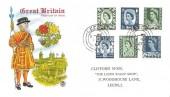 1967 9d Green & 1/6d Grey Blue, Northern Ireland, Scotland, Wales Regionals, Stuart Colour Beefeater FDC, Leeds cds