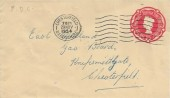 1954, 2½d Red Embossed Printed Postal Stationery Envelope, used on First Day of Issue, Chesterfield Derbyshire cancel