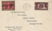 1937 Coronation, The State Assurance Company Limited FDC, Southend on Sea Essex Cancel, The King at Portsmouth Coronation Label