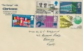 1969 Notable Anniversaries, See Europe with Clarksons FDC, The National Post Museum London Chief Office EC1 London Slogan