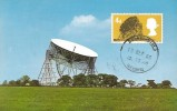 1966 British Technology, The Radio Telescope Jodrell Bank Cheshire Postcard, 4d Jodrell Bank Ordinary Stamp only, Huddersfield Yorkshire cds
