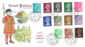 1971 QEII Definitives, ½p to 9p 12 values, Stuart FDC, Aylesham Canterbury Kent cds, Post Office Opened during the Post Office Strike