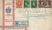 1937 Coronation, Registered William Ferris Glasgow Stamp Shop FDC, Stamps from 3 Reigns King George V, King George VI and Edward VIII, Gourock Renfrewshire cds