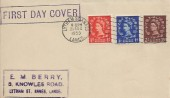 1953 QEII Definitive Issue ½d, 1d, 2d, E M Berry FDC, Lytham St.Annes Lancs Cancel