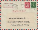 1952 QEII Definitive Issue 1½d, 2½d, Air Letter FDC, Post Early for Christmas London SW1 slogan