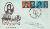 1966 Robert Burns, Blue Illustrated FDC, That Man to Man The Warld O'er Shall Brothers be For A' That Ayr H/S