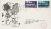 1967 European Free Trade Area (EFTA), Stuart FDC, Southampton T Cancel, Phosphorline Red Cachet