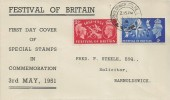 1951 Festival of Britain, Display FDC, Barnoldswick Colne Lancs. cds