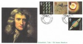 1999 Scientists' Tale, Stamp Searchers Isaac Newton FDC, Sir Isaac Newton Woolsthorpe Lincs. H/S