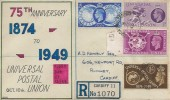 1949 Universal Postal Union, Registered APH Hand Illustrated FDC, Broadway Cardiff cds