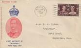 1937 King George VI Coronation, Stamp Collecting FDC, Bristol B Cancel