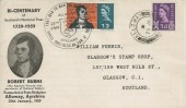 1966 Robert Burns, 1759 - 1959 Bicentenary Of Scotland's National Poet FDC, 1/3d Phosphor stamp only, Large 38mm Alloway Ayrshire H/S