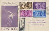 1948 Olympic Games Wembley, Registered Illustrated FDC, Ford End Road Bedford cds