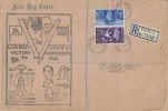 1946 Victory, Registered Courier Stamp Co. FDC, Colston Street Bristol 1 cds