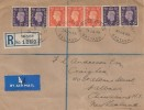 1938 King George VI Definitive Issue, 2p, 3p, Registered Plain FDC, Registered Saltash Oval cds, flight cover to New Zealand