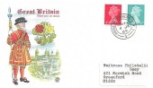 1969 QEII Definitive Issue 4d, 8d, Stuart Colour FDC, House of Commons SW1 cds