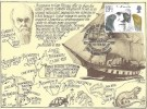1982 Charles Darwin, Southern Printers Postcard, 19½p stamp only, 150th Anniversary of the Voyage of HMS Beagle Plymouth Devon H/S