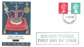 1969 4d Red & 8d Turquoise QEII Definitive Issue, Philart FDC. Windsor Berks.cds + Colour Change First Day of Issue Cachet