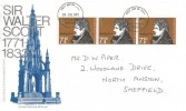 1971 Literary Anniversaries, Post Office Commemorative Sir Walter Scott FDC, 3 x 7½p Sir Walter Scott stamps, Rotherham Yorkshire FDI