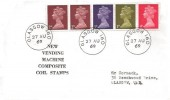 1969 1s Se-Tenant Coil QEII Definitive Issue, Display FDC, Glasgow 160 cds