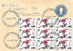 1966 England Winners, Cream 4d Postal Stationery Envelope FDC, Block of 9 England Winners Stamps, Coventry Warwickshire FDI