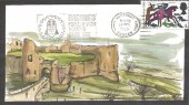 1966 Battle of Hastings, Amanda J Skinner (AJS) Hand Painted Pevensey Castle FDC. 4d only, Hastings Popular with Visitors since 1066 Slogan.