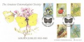 1985 British Insects, Bradbury LFDC 40 Official FDC, The Amateur Entomologists' Society AES Golden Jubilee Feltham Middlesex H/S