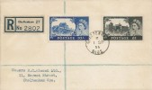 1955 10/-, £1 Waterlow High Value Castle Defensive Issue, Registered Plain FDC, Cheltenham Glos.cds